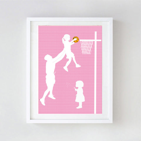 Father and daughter playing basketball - Fine art print
