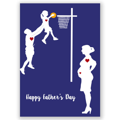 Father's day Gift Guide - Father and son or daughter playing basketball, Fine art print, silhouette, wall decor, pregnant mother