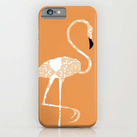 Flamingo Bird In Orange Damask on Phone Case