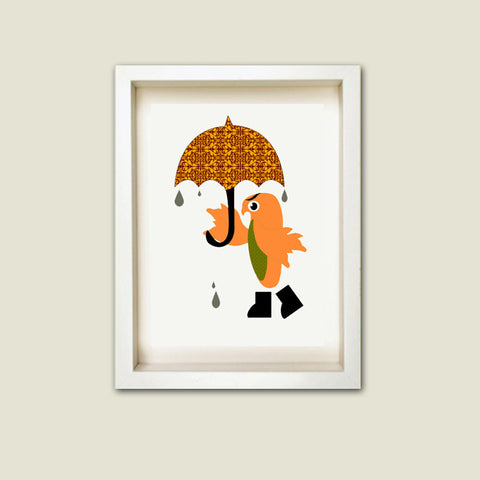 An owl marching in the rain - nursery print