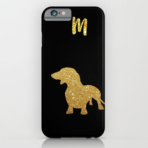 NEW ! Golden Glitter Dachshund Dog on Phone Case