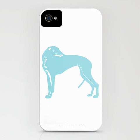 Greyhound Dog  in Aqua Blue Phone Case