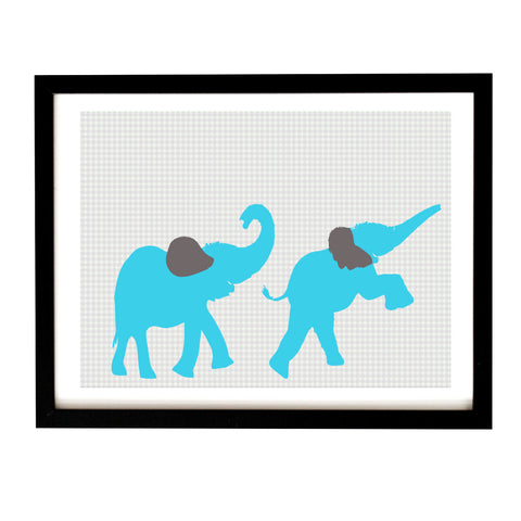 Two Elephants Marching Art Print