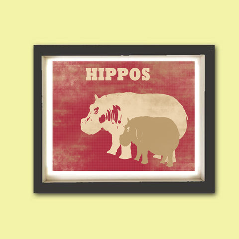 Hippos - Kids Art Prints, hippopotamus, nursery decor, baby hippo, mummy hippo, hippos, nursery decorating ideas, hippopotamus art