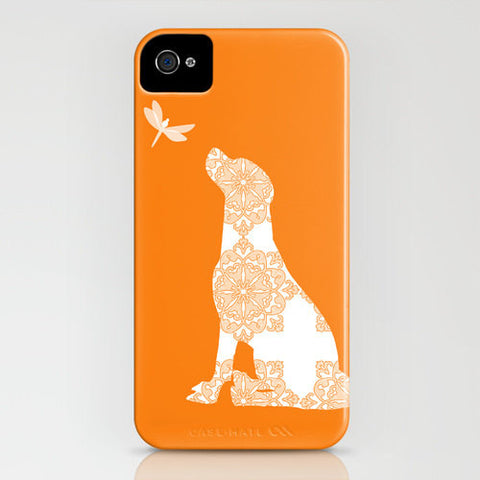 Labrador retriever dog and dragonfly on orange phone case