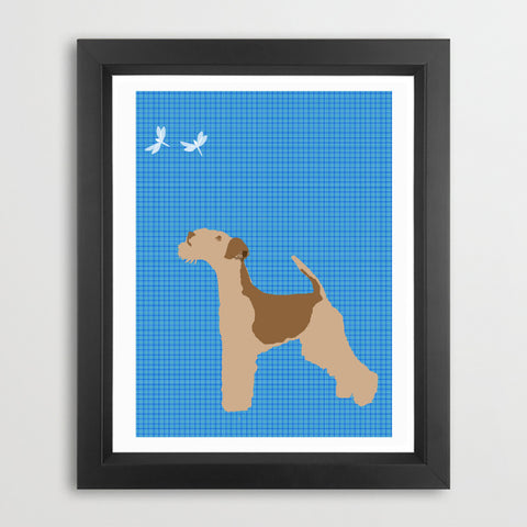 Lakeland Terrier Dog With Dragon Fly Art Print