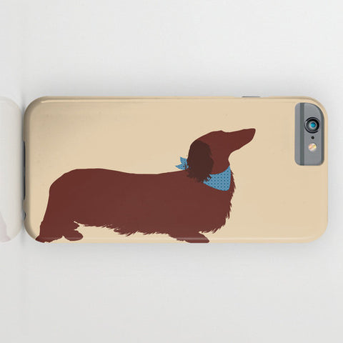 Dachshund Dog with long hair on Phone Case