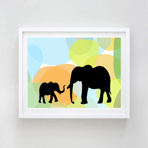 Mama and Me Elephant Art Print