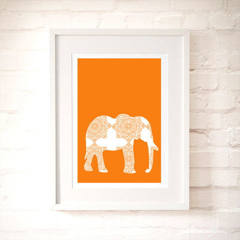 Orange Damask Elephant Art Print