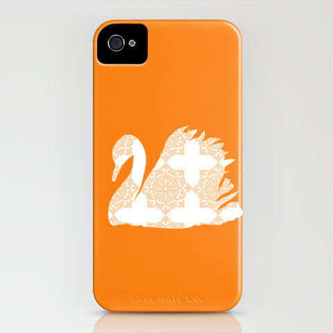 Swan with orange floral design on phone case