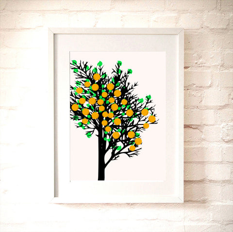 An Orange Tree  - Oranges on the Tree, oranges, Fine Art print