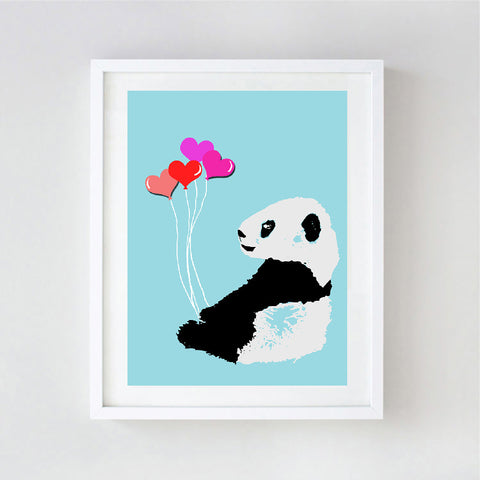 Baby Panda Art - Kids Art Prints, family, love, decor, nursery art print, bear family, bear hug