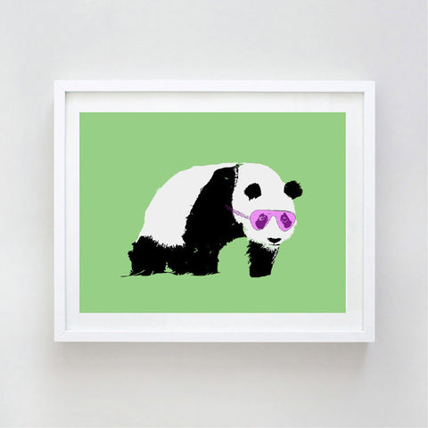 Panda With Sunglasses Art Print - Kids Art Prints, family, love, decor, nursery art print, bear family, bear hug