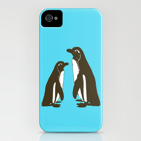 Penguins on Blue Phone Case
