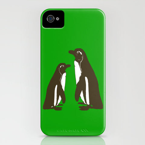 Penguins on Green Phone Case