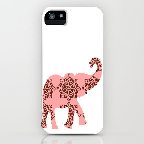Elephant in pink and brown damask Phone Case