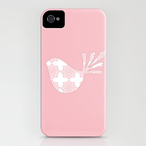 Bird with pink floral design on phone case