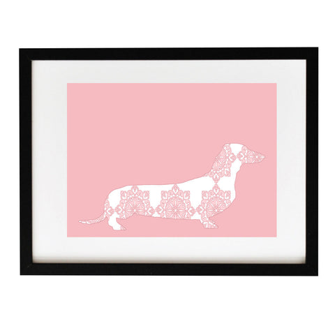 Floral Dachshund Dog on Pink - Fine Art Print