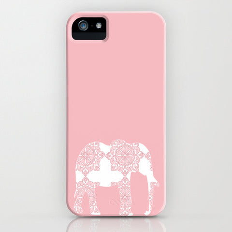 Damask Elephant on Pink Phone Case