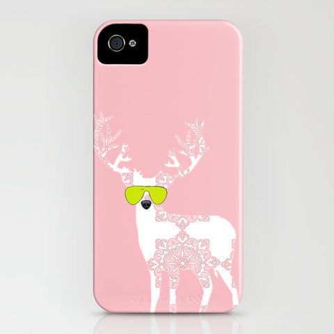 Floral Reindeer on Pink Phone Case