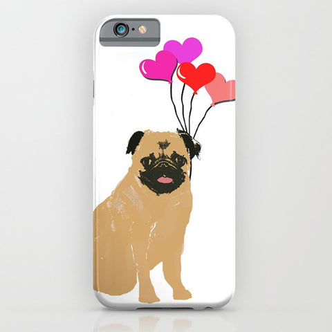 Pug dog with balloons on phone case