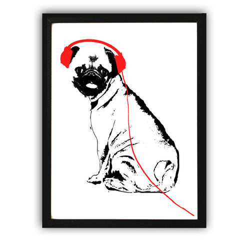 Pug Dog With Ear Phones Fine Art Print