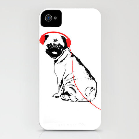 Pug Dog With Earphones on Phone Case