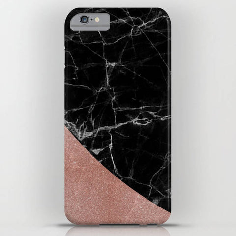 Black Marble with Rose Gold Pattern 1 on Phone Case - iPhone 8, iPhone X, Marble, Black Marble, Rose Gold, iPhone X, Samsung S9