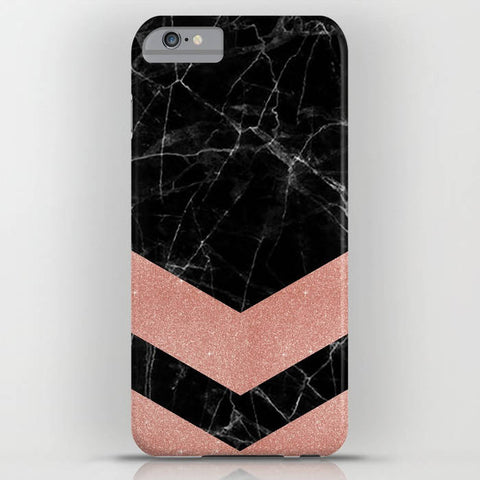 Black Marble with Rose Gold Pattern 2 on Phone Case - iPhone 8, iPhone X, Marble, Black Marble, Rose Gold, iPhone X, Samsung S9