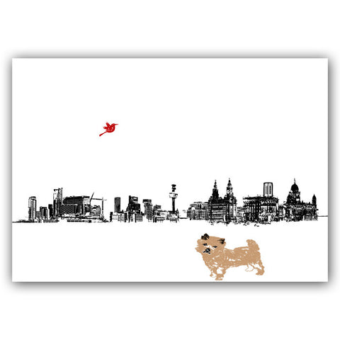 Cairn Terrier in Liverpool City Skyline Print