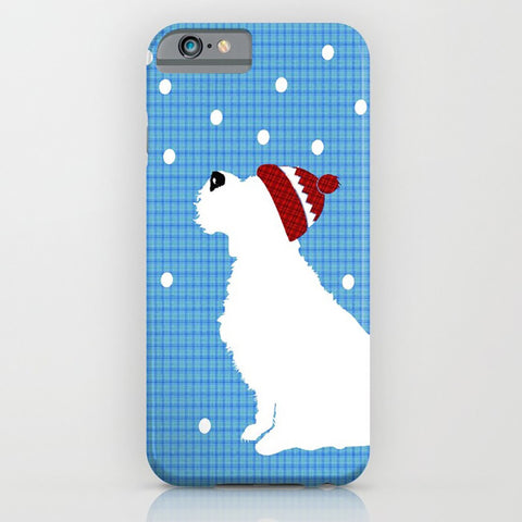 Schnauzer Dog in the snow - phone case