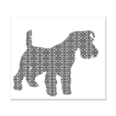 Schnauzer Dog in damask art print