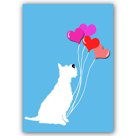 Schnauzer Dog with balloons art print , silhouette, dog art, red sweater, pet lover, Schnauzer art