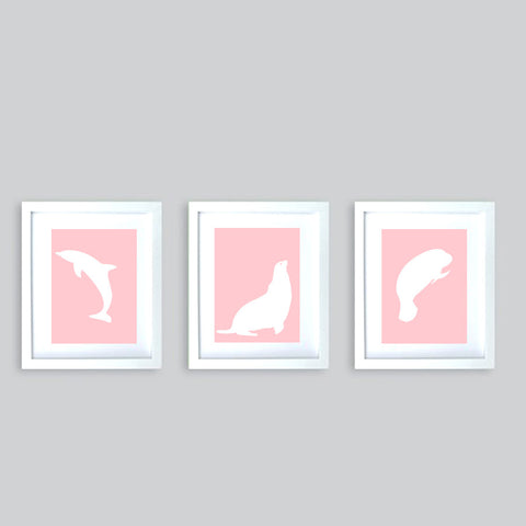 Set of three sea animals prints on pink