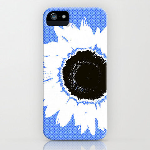 Sunflower On Blue Patterned Phone Case