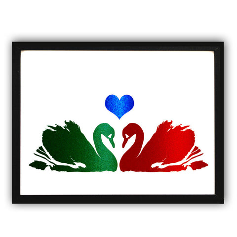 Swans in love - art print