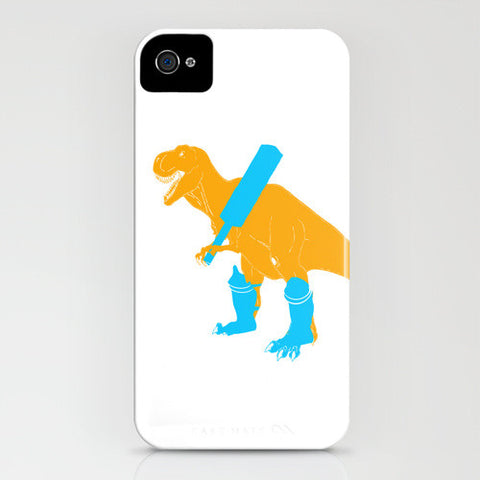 Dinosaur Trex playing cricket on phone case