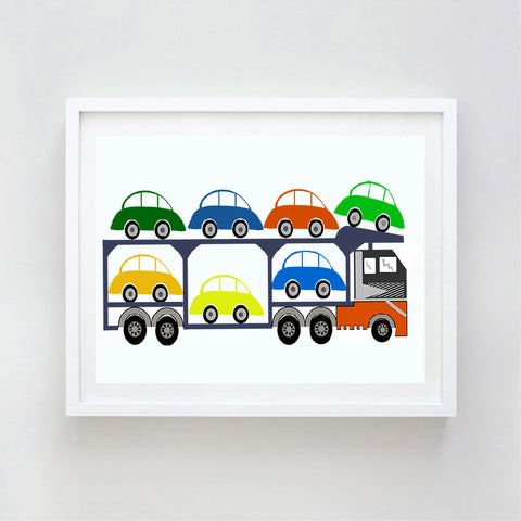 Lorry loaded with cars print
