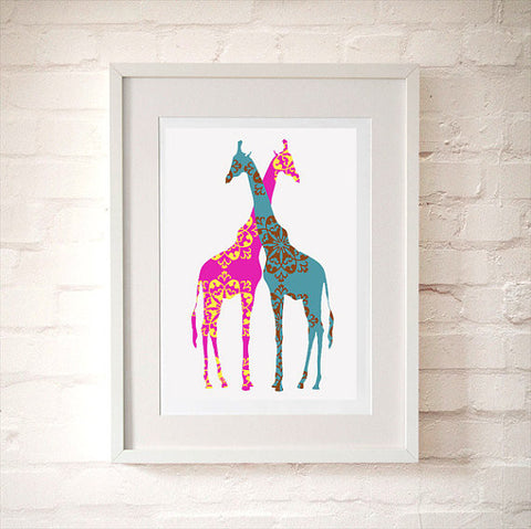 Two Loving Giraffes Art Print
