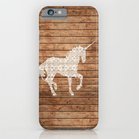 Unicorn on wood print phone case