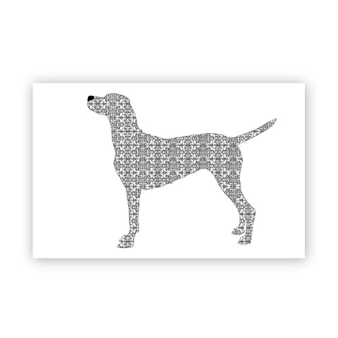 Damask Vizsla Dog Art Print