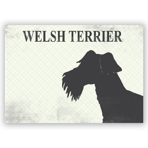 Welsh Terrier Art - Fine art print, welsh terrier dog , grey silhouette