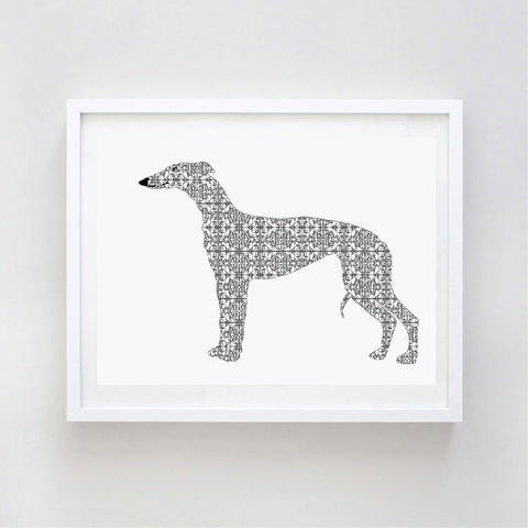 Whippet Dog In Damask Design Print