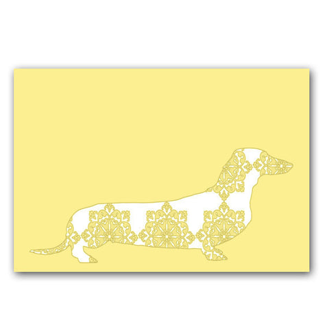 Floral Dachshund Dog on Yellow - Fine Art Print
