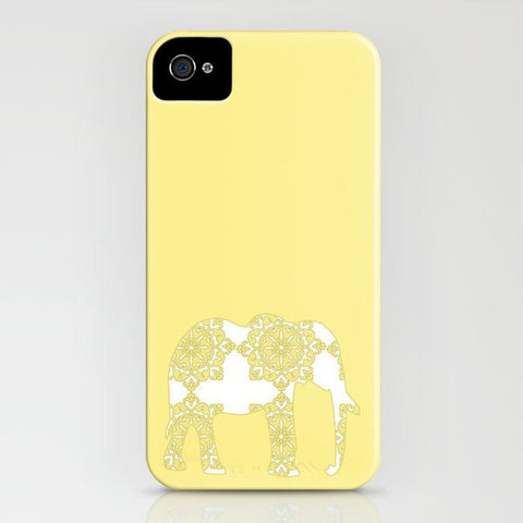 Damask Elephant on Yellow Phone Case