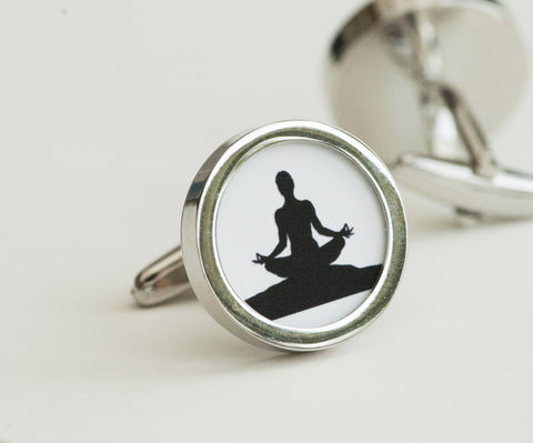 Yoga Pose on Cufflinks