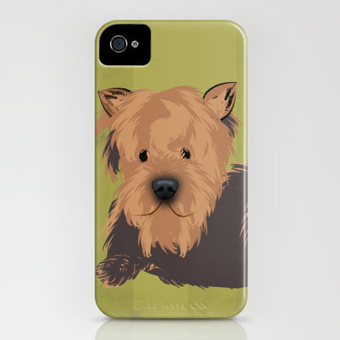 Yorkshire Terrier Dog on Green Phone Case