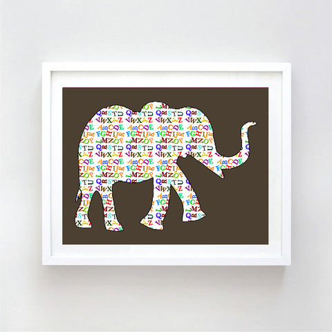 Alphabet Elephant Art Print