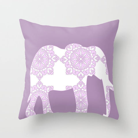 Damask Purple Elephant Cushion Cover