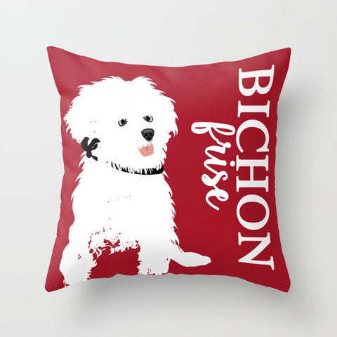 Bichon Frise Dog on Cushion Cover